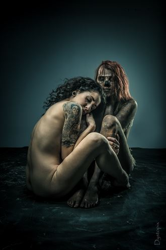 cuddling the mummy artistic nude artwork by photographer dystopix photo