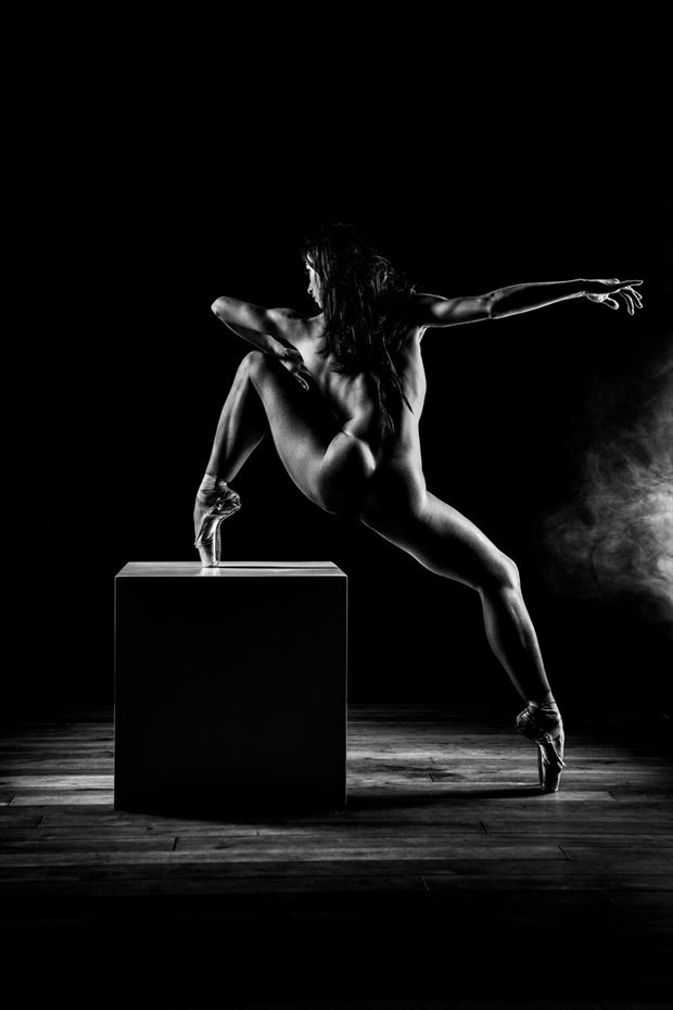 dancer on a cube artistic nude artwork by photographer jens schmidt