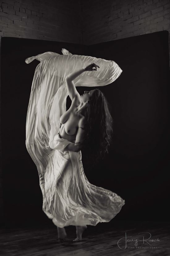 dancing with silks artistic nude photo by model katy t