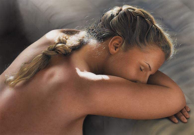 emmy resting painting portrait artwork by artist johannes wessmark