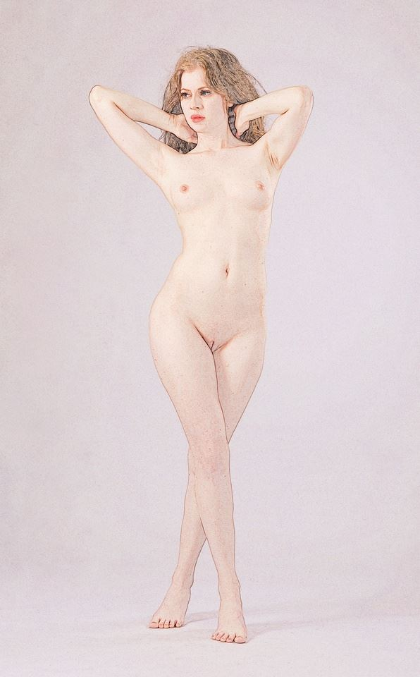 emulated pencil sketch artistic nude photo by photographer anders bildmakare