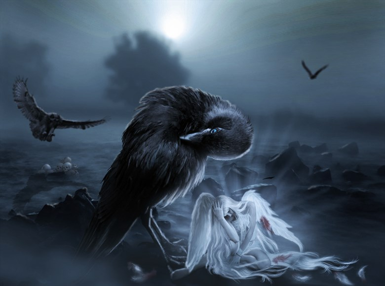 fallen angel fantasy artwork by artist karinclaessonart