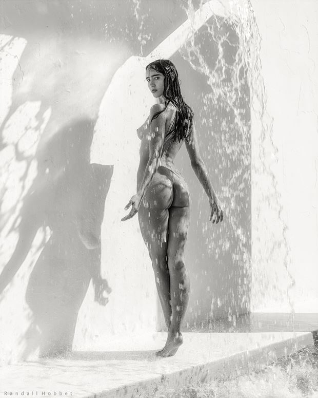 falling water artistic nude photo by photographer randall hobbet
