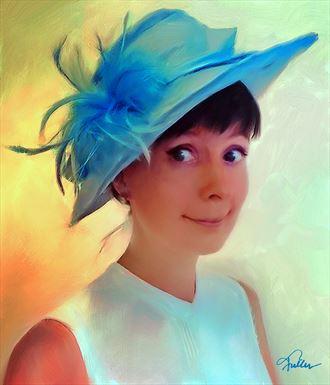 fancy blue hat digital artwork by artist van evan fuller