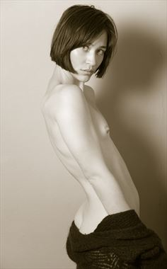 fashion nude with black sweater artistic nude photo by photographer risen phoenix