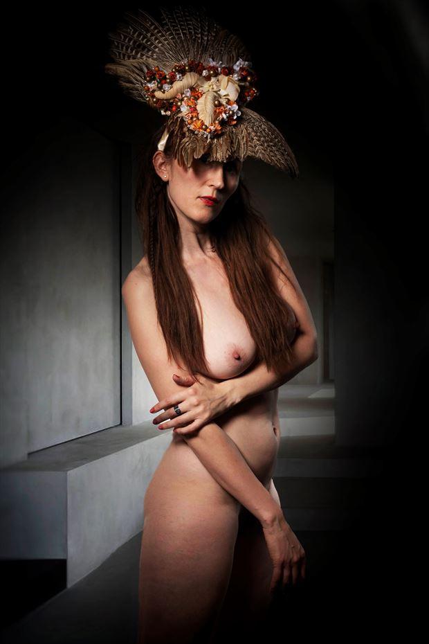 feathered headdress artistic nude artwork by model eirwen kreed