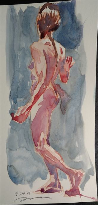 figure painting twisted back view artistic nude artwork by model michael scm model