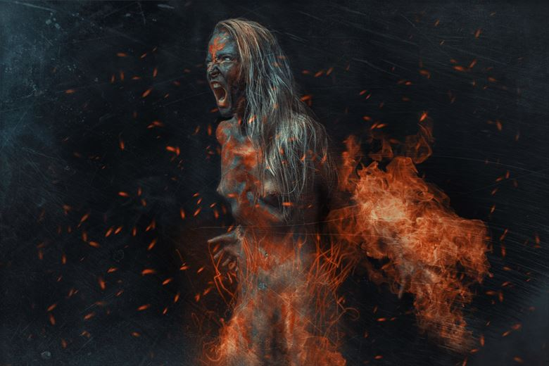 fire witch artistic nude photo by photographer luj%C3%A9an burger