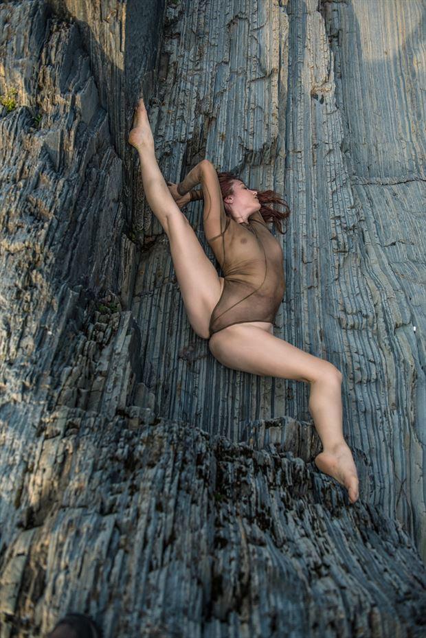 flexibility on the rocks lingerie photo by model christelle