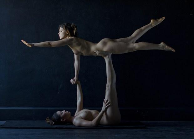floating yogi artistic nude artwork by photographer alan h bruce