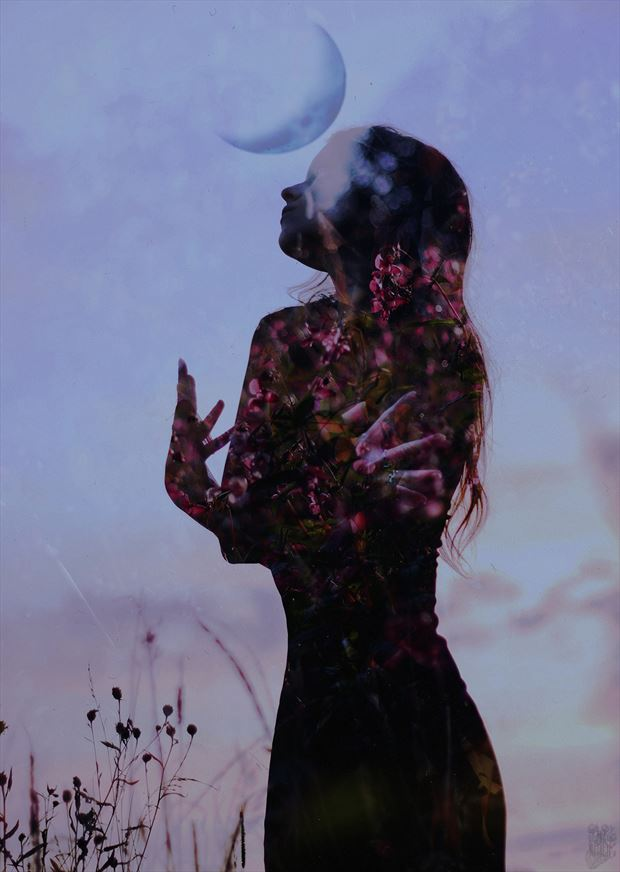 floral moon surreal photo by photographer natalie ina