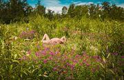 flower girl artistic nude artwork by model fearra lacome