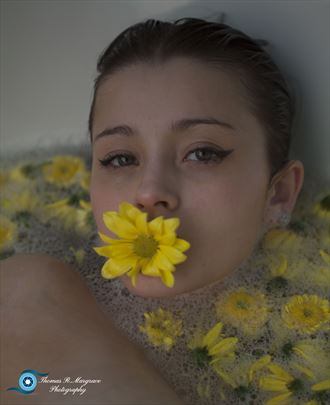 flower on her mouth artistic nude photo by photographer thomas margrave
