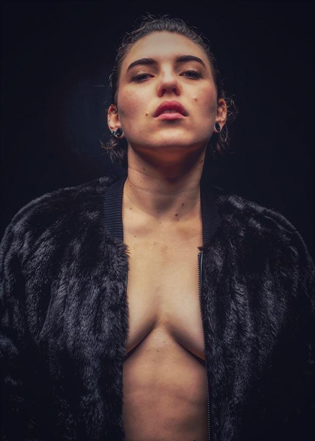 fur coat sensual photo by model megg bel