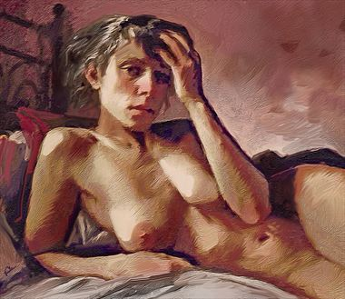 gabby gold and mauve artistic nude artwork by artist van evan fuller