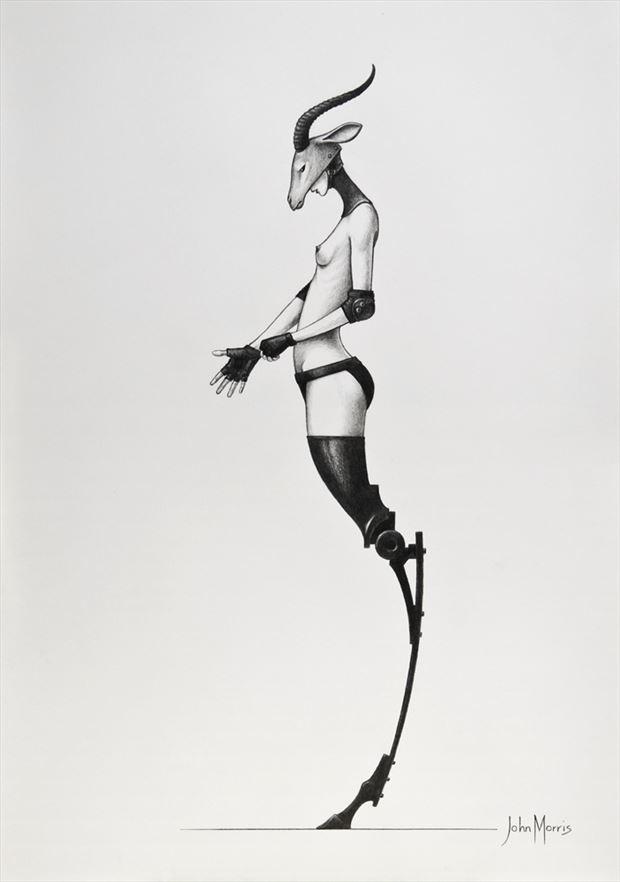 gazelle artistic nude artwork by artist john morris sculptor