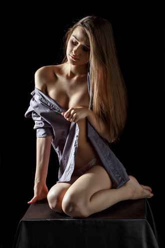 girl in a man s shirt artistic nude photo by photographer dmitrii svetov