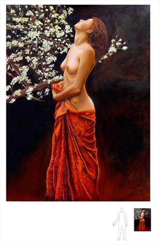 girl in the velvet dress artistic nude artwork by artist satya demasson