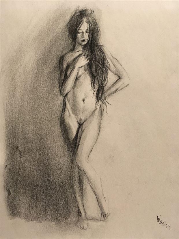 girl standing artistic nude artwork by artist edoism