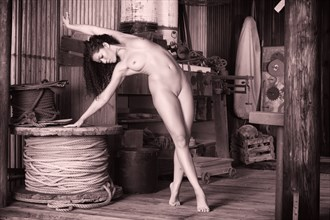 girl with rope spools Artistic Nude Photo by Photographer KHolmes