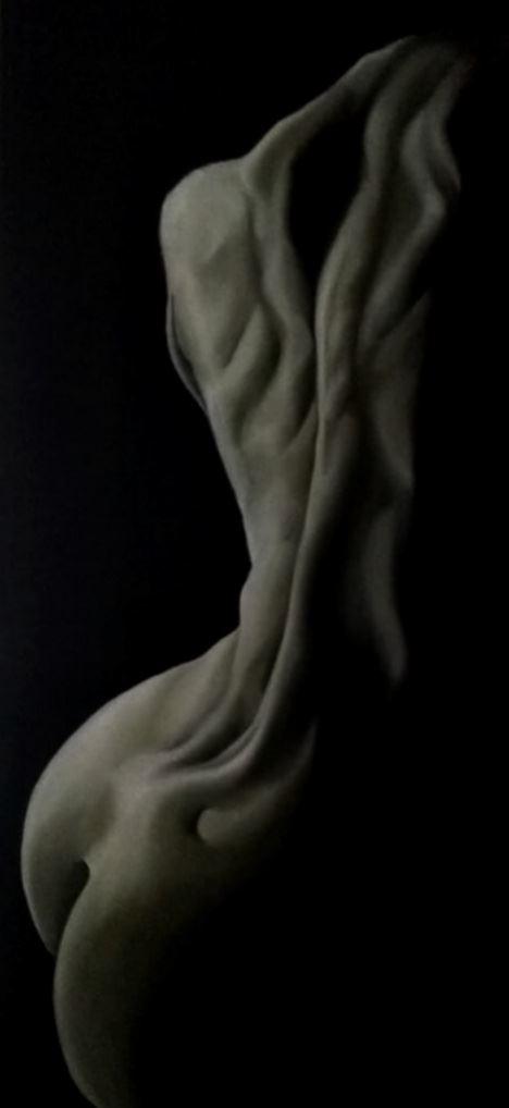 glowing torso in dark artistic nude artwork by artist pradip chakraborty