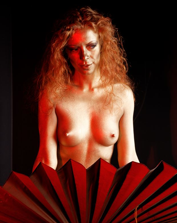 golden augusta and the big fan artistic nude photo by photographer fred scholpp photo
