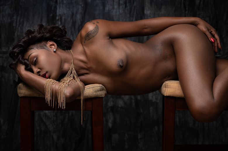 golden drizzle artistic nude artwork by model skinnythemodel