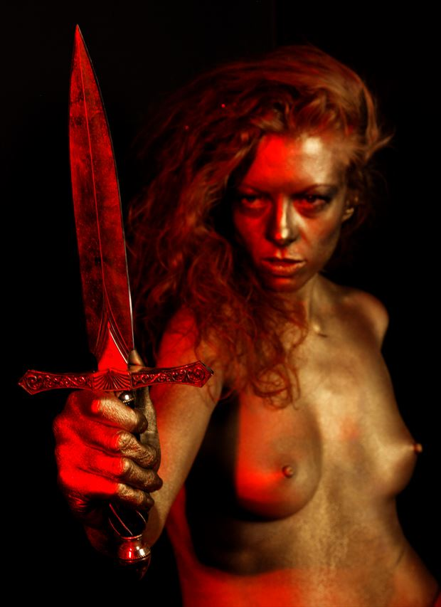 golden nude with dagger artistic nude photo by photographer fred scholpp photo
