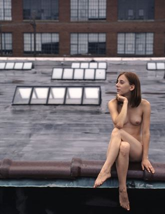 goth chick on the roof artistic nude artwork by photographer bgrossman