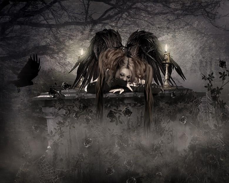 gothic angel fantasy artwork by artist karinclaessonart