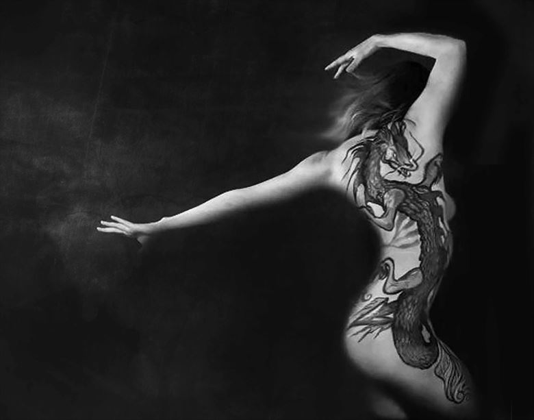 green dragon in black and white erotic photo by photographer bill milward