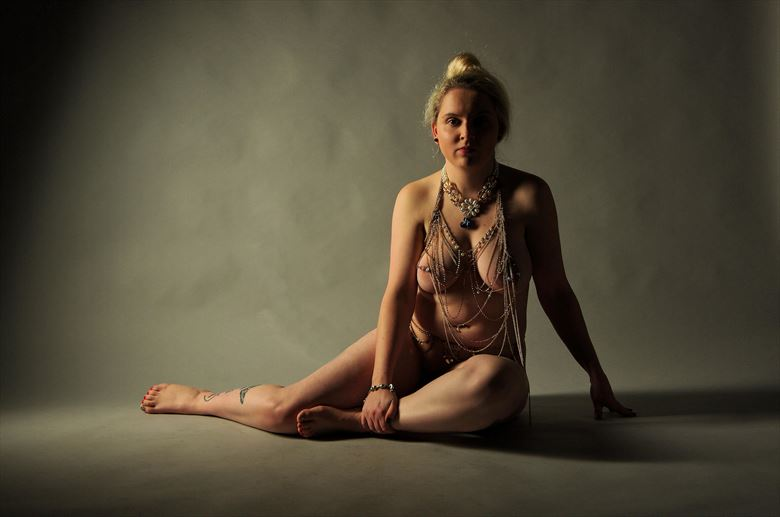 half lit with jewellery artistic nude photo by photographer russb