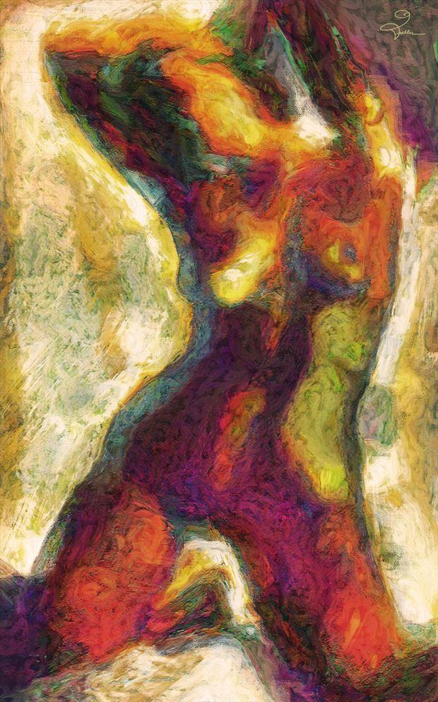 her golden morning artistic nude artwork by artist van evan fuller