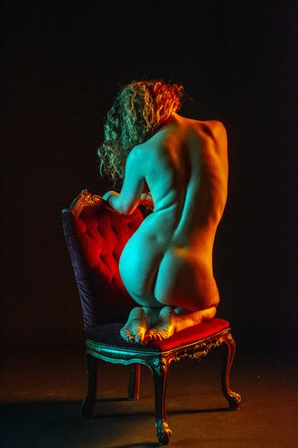 holly on a chair artistic nude artwork by photographer ian athersych