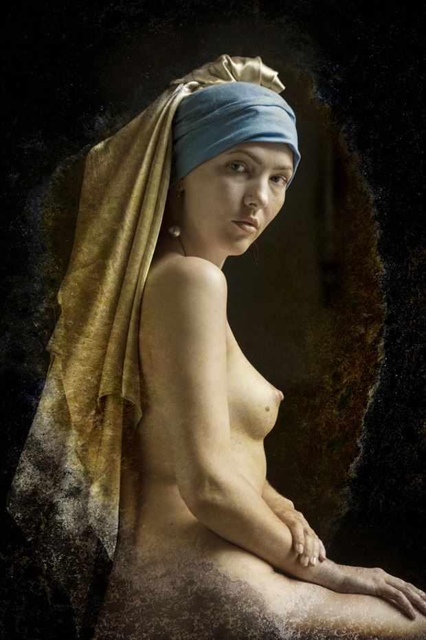 homage to girl with the pearl earring artistic nude photo by photographer christopher meredith