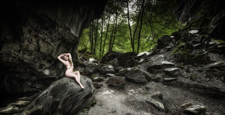 in the rocky haven below the trees their sits artistic nude artwork by photographer neilh