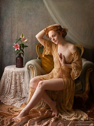 ivory flame with lilies artistic nude photo by photographer lawrencesview