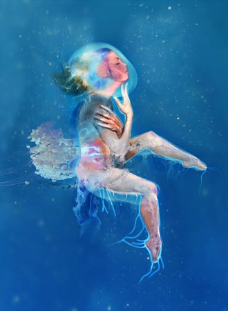 jellyfish creature 01 Surreal Artwork by Artist paul bellaby