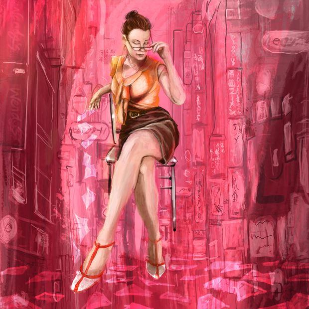 jennifer in the city vintage style artwork by artist nick kozis