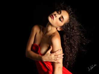 julia in red glamour artwork by photographer jon lecoultre