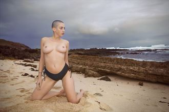 kate malone topless on a dramatic beach artistic nude photo by photographer joey odouls