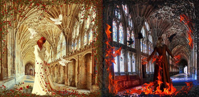 l i g h t versus d a r k fantasy artwork by artist karinclaessonart