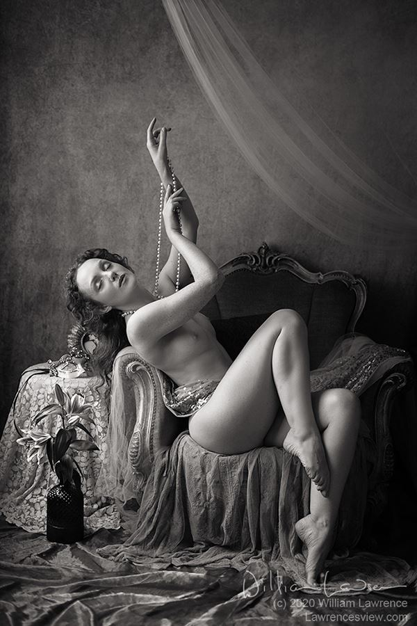 lace and pearls artistic nude photo by model ivory flame