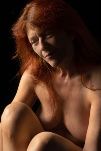 lady in red artistic nude photo by model model heidi
