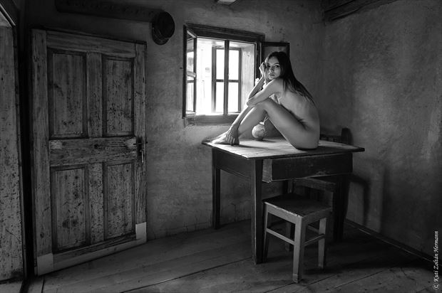 lady on the table artistic nude artwork by photographer zoltan k