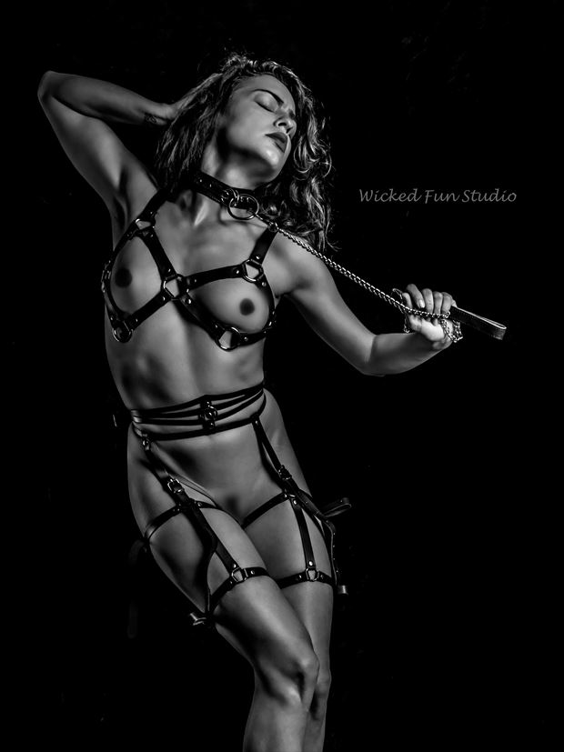 leather cage artistic nude artwork by photographer wicked fun studio