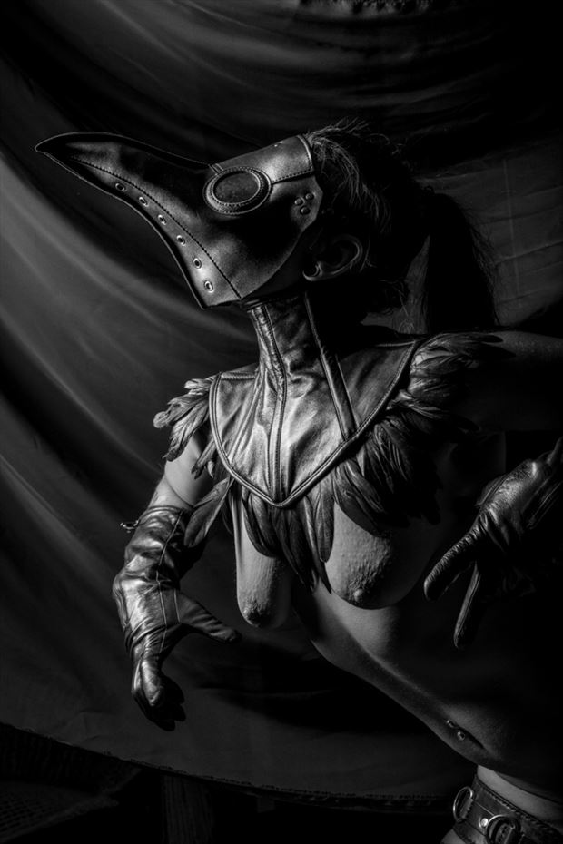leather plague doctor artistic nude artwork by photographer pitaru