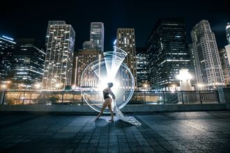 light painting architectural photo by model ceara blu