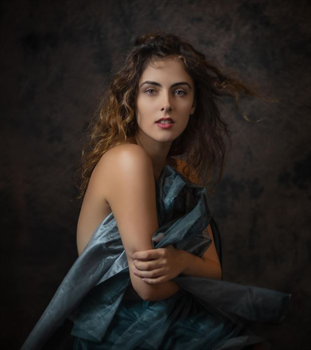 lina with blue fabric studio lighting photo by photographer thatzkatz