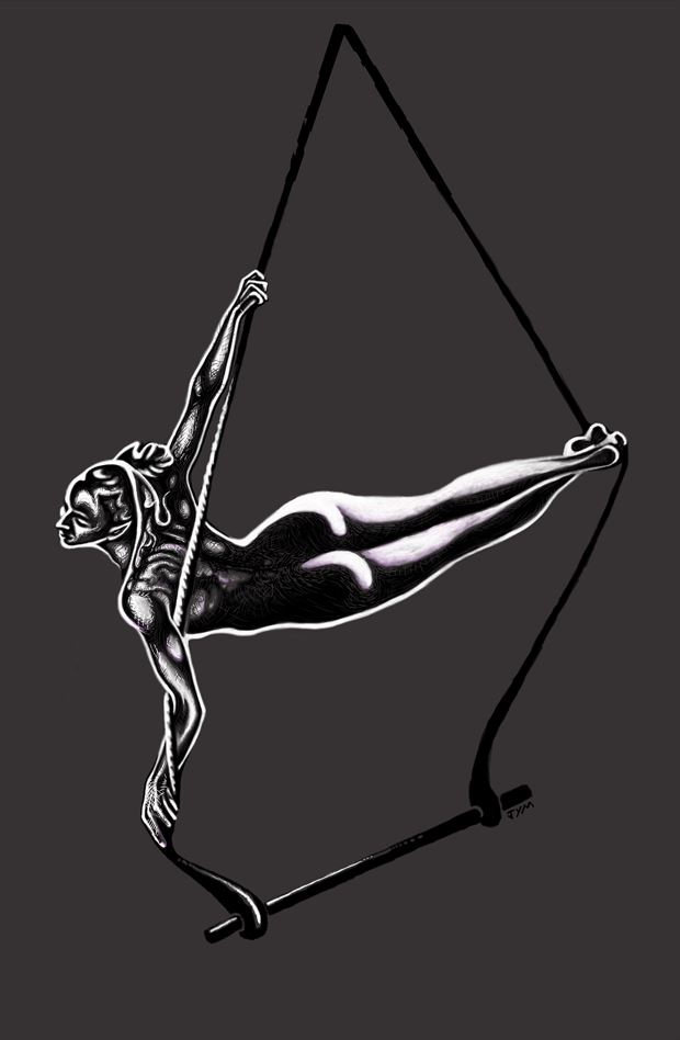 livia on trapeze sensual artwork by photographer jymdarling